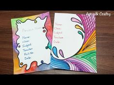 Diy Crafts - Colourful Borders for Project / Easy Border Design for School Project / How to Decorate Front Page I have shown 2 Easy & quick beauti File Decoration Ideas, Page Decoration, Boarder Designs, Page Borders Design, Border Ideas, Cover Page For Project, Front Page Design, Holiday Homework, Notebook Cover Design