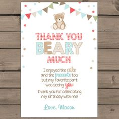 Teddy Bear Picnic Thank you card Teddy Bear Picnic Birthday