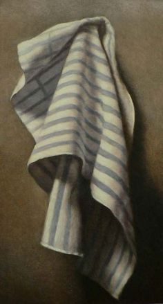 A painting of a towel, part of our daily lives, takes on a certain reverence. John Folchi, Blue Striped Towel