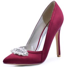 42.99$  Buy here - http://alil4r.worldwells.pw/go.php?t=32769569301 - Burgundy Women Wedding Pumps Pointed Toe High Heel V Cut Slip on Satin Flower Clips Bridal Court Evening Shoes HC1603 Pink  42.99$