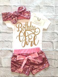 Baby Girl Clothes, Birthday Girl Bodysuits, Birthday Girl Shirts, Birthday Girl, Smash Cake Bodysuits, Pink and Gold Birthday Girl Bodysuits, Birthday Girl Tops - BellaPiccoli