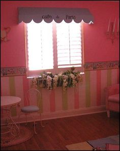Little Girls French Poodle Inspired Bedroom. Paris Cafe Bedroom