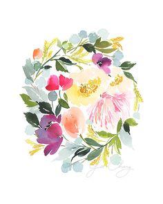 Meadow Sunset Watercolor Art Print от YaoChengDesign на Etsy