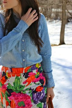 Floral Pencil Skirt & Chambray