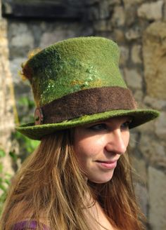 Felt Top Hat - 'Tree' - Hand felted wool green brown olive gold - magic curls tree wood button - handmade to order - Custom made to measure