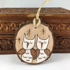 Personalized wood Christmas ornament owl ornament wedding