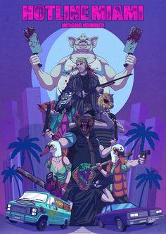 Hotline Miami 2 Poster 2014, Guillaume Beauchêne on ArtStation at https://www.artstation.com/artwork/hotline-miami-2-poster