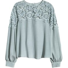 H&M Blouse with a lace yoke ($38) ❤ liked on Polyvore featuring tops, blouses, h&m, long sleeve lace blouse, long sleeve tops, h&m tops and lace top
