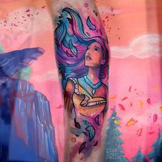 Russell Van Schaick Tattoos - Can you paint with all the colors of the wind? Disney Tattoos Pocahontas, Disney Sleeve Tattoos, Leg Sleeve Tattoo, Disney Princess Tattoo, Tattoo Disney, Future Tattoos, Love Tattoos, Beautiful Tattoos, Girl Tattoos