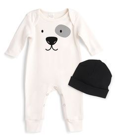 Take a look at this Ivory Puppy Face Playsuit & Black Stripe Beanie - Infant today! Baby Silhouette, Black Playsuit, Puppy Face, Baby Planning, Baby Boy Romper, Summer Baby, Black Stripes, Little Babies, Infant