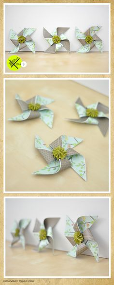 pinwheels but use pieces pages of a book on one side and a solid or strip on the other.