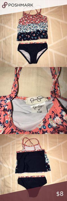 Jessica Simpson Surfside ruffle sleeve off the shoulder bikini TOP ONLY MEDIUM