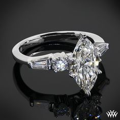 Baguette and Round Diamond Engagement Ring with 2.03ct Marquise