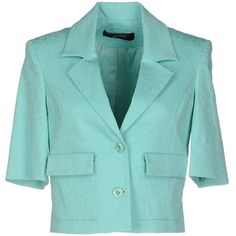 Guess By Marciano Blazer ($195) ❤ liked on Polyvore featuring outerwear, jackets, blazers, light green, short sleeve blazer jacket, jacquard jacket, single breasted jacket, blue jackets and short sleeve blazer