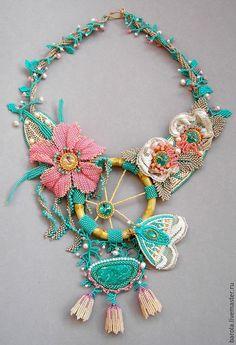 """Купить Колье """"Сон в летнюю ночь"""" - разноцветный, бирюзовый, розовый, бежевый, цветок, цветок из бисера"""