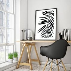 Palm Leaf Print, Tropical Leaf Print, Printable Art, Palm Art Print, Minimalist Art, Black and White, Digital Download, Modern Wall Print This
