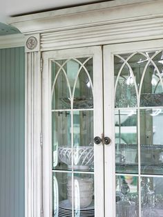 Love these cabinets seeded glass with diamond pattern in antique