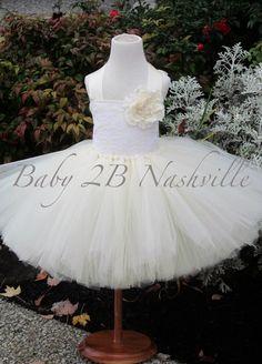 Wedding Flower Girl Dress in Ivory with White by Baby2BNashville, $100.00