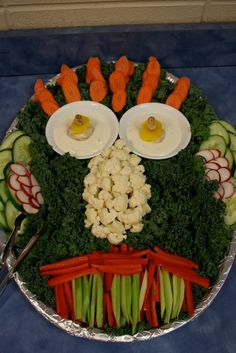 veggie monster fun for birthday or halloween parties though i would switch out all of that decorative lettuce for broccoli