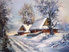 ULITA-CU-IARNA-40X30-cm-prezentare Christmas Nativity Scene, Christmas Scenes, Christmas Art, Winter Szenen, Winter Cabin, Soft Pastel Art, Winter Painting, Snow Scenes, Winter Pictures