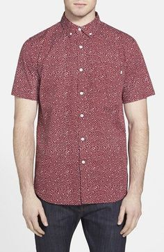 Obey 'Journey' Slim Fit Dot Print Woven Shirt available at #Nordstrom
