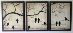 Set of three paintings. Birds on Barbed Wire. by ArtbySimplyMe, $195.00