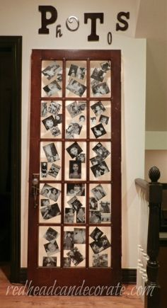 Repurposed door with black and white photos.