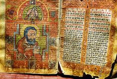 Ancient Painting of St. John, in the Kebra Nagast scriptures. -Abba Penwolton Monastery, Axum, Ethiopia