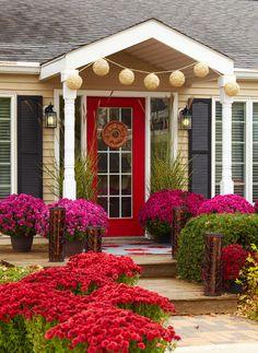 Red door, tan siding, black shutters, LIKE!