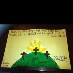 Calvary's hill with handprint sun Easter craft~could make a printable, add hand print, then let kids paint