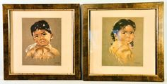 Canadian Artist Dorothy Marie Oxborough Framed Print Children Native Boy & Girl #Vintage