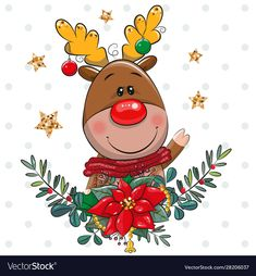 Buy Cartoon Deer with Christmas Wreath by on GraphicRiver. Vector illustration Cute cartoon Deer with Christmas wreath Christmas Quotes, Christmas Baby, Merry Christmas, Christmas Decorations To Make, Christmas Wreaths, Christmas Crafts, Cartoon Clip, Cute Cartoon, Paper Box Template