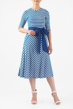 Stripe cotton knit sash tie dress #eShakti