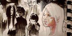 Niños shuares (Ecuador). #drawing #sketch #dessin #art #arte #dibujo #esbozo #niños #enfants #children