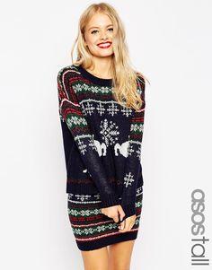 [Size 38] 36€ Bild 1 von ASOS TALL – Weihnachtlicher Pullover zum Kombinieren mit Fair Isle-Muster und Rentiermotiv