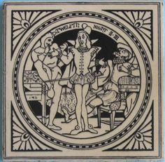 """One of the series of 24 scenes from plays by Shakespeare designed by John Moyr Smith for Mintons China Works, pattern No. 1408. Depicted here is: """"Twelfth Night, Act II, scene iii"""". The tile is underglaze..."""