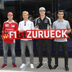 The 4 German drivers - Sebastian Vettel, Nico Rosberg, Nico Hulkenberg and Pascal Wehrlein - with an autographed ( sign, promoting the return of the German GP :) __________ Pascal Wehrlein, Nico Rosberg, F1 Season, F1 Drivers, Formulas, Sports Stars, F 1, Mercedes Amg, Formula One