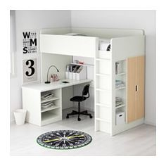 IKEA - STUVA, Loft bed with 2 shelves/2 doors, white/black, , With this loft bed you get a complete solution for your child's room – including desk, wardrobe and open shelf unit.You can assemble the desk parallel, perpendicular, or complete with 2 ADILS legs for a free-standing desk.If you choose to assemble the desk perpendicular to the bed, you can access the wardrobe from both sides.To reduce the risk of slipping, the ladder has anti-slip groves.It´s easy to keep sockets and cord...