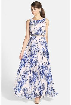 This printed, pleated chiffon pleated maxi dress from @elizajny would be a great bridesmaid dress | Brides.com