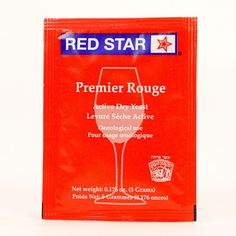Red Star Premier Rouge is a strong fermenter and produces full-bodied red wines. Particularly well suited for grapes from the Zinfandel and Cabernet families as well as Berry and Cherry Wine, Gamay, Merlot, Pinot, and Syrah. Wine Yeast, Dry Yeast, Full Bodied Red Wine, Grape Picking, Cherry Wine, Wines, Berries, Alcohol, Stars