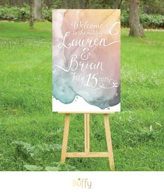 The LAUREN . Welcome Wedding Ceremony Sign PRINTED or PDF . Heavy Paper, Foam…