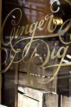 Ginger Pig foil/metallic store front signage