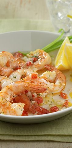 Tender baked shrimp in a rich sauce seasoned with onion, garlic, lemon and dill