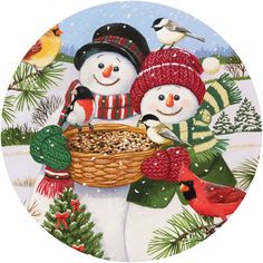 Christmas Jigsaw Puzzles - Snow Couple Feeding The Birds 300 Large Piece Round Jigsaw Puzzle Christmas Puzzle, Quilted Christmas Ornaments, Christmas Art, Christmas Coasters, Wooden Christmas Tree Decorations, Wood Ornaments, Christmas Graphics, Christmas Pictures, Snowmen Pictures