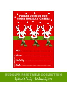 free christmas party invitation rudolph reindeer printable decorations