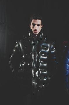 Inflatable coat backstage at Christopher Raeburn AW15 LCM. See more here: http://www.dazeddigital.com/fashion/article/23143/1/christopher-raeburn-aw15