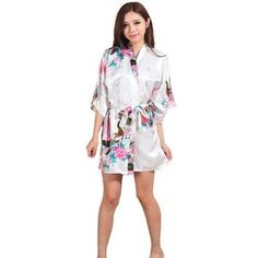 6504b2bc9d Silk Satin Wedding Bride Bridesmaid Robe Floral Bathrobe Short Kimono Robe  Night Robe Bath Robe Fashion Dressing Gown For Women