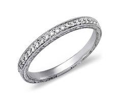 Engraved Micropavé Diamond Ring in 14k White Gold