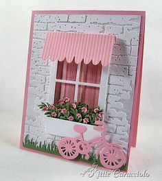 KC Savvy Stamps Awning and Bike 1 right. window scene w bike and flowers Making Greeting Cards, Greeting Cards Handmade, Cute Cards, Diy Cards, New Home Cards, Window Cards, Stamping Up Cards, Paper Cards, Flower Cards