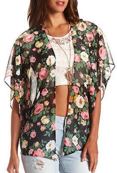 Charlotte Russe Sheer Floral Print Kimono Top on shopstyle.com